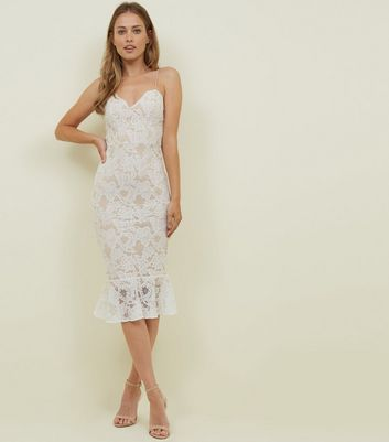 White Lace Fishtail Hem Bodycon Dress by New Look