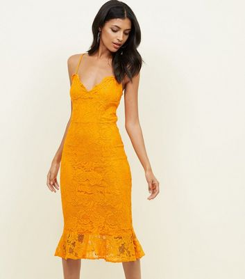 Bright Orange Lace Fishtail Hem Bodycon Dress