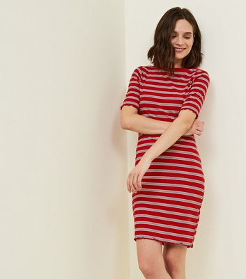 Red Stripe Ribbed Bodycon Dress