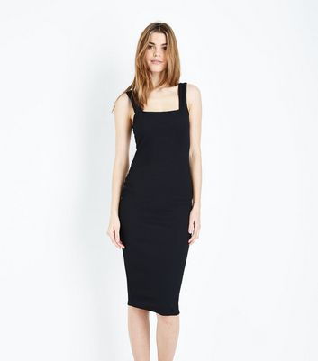Black Ribbed Square Neck Midi Dress