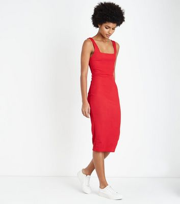 Red Ribbed Square Neck Midi Dress