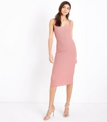 Pink Ribbed Square Neck Midi Dress