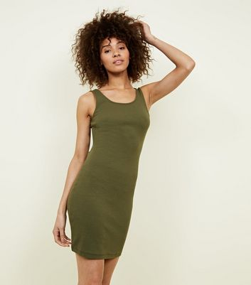 Khaki Ribbed Sleeveless Bodycon Dress