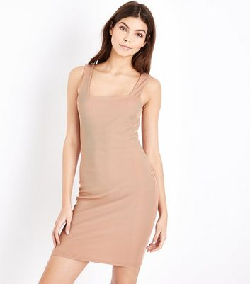 Light Brown Square Neck Ribbed Jersey Mini Dress