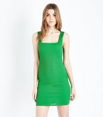 Green Square Neck Ribbed Jersey Mini Dress