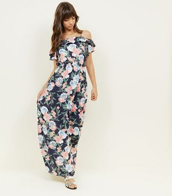 Navy Floral Pom-Pom Trim Cold Shoulder Maxi Dress