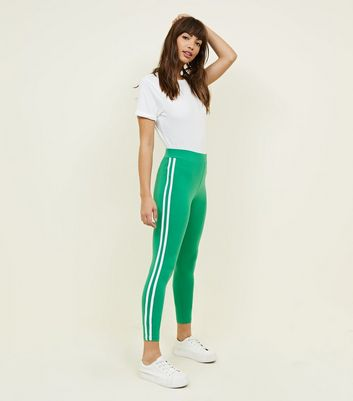 Green Double Side Stripe Leggings