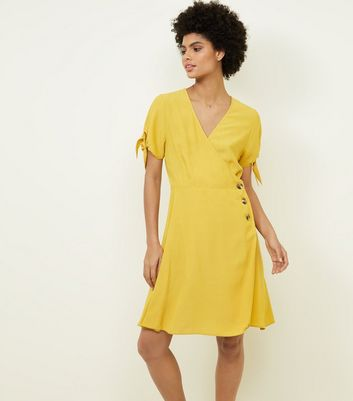 Mustard Wrap Side Button Dress
