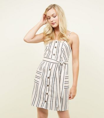 Off White Stripe Linen Blend Button Through Mini Dress
