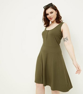 Curves Olive Green Ribbed Jersey Skater Dress