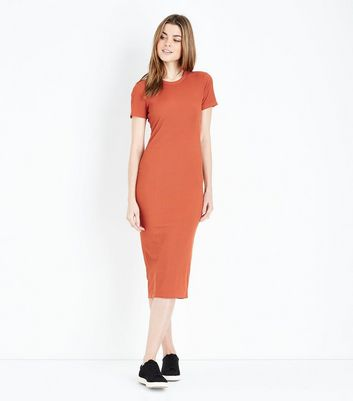 Rust Ribbed T-Shirt Midi Dress