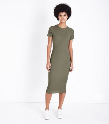 Khaki Ribbed T-Shirt Midi Dress