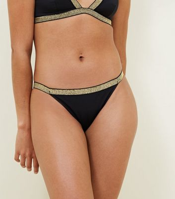 Black Metallic Trim Bikini Bottoms