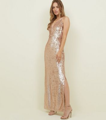 Bronze 2 Way Sequin Maxi Dress