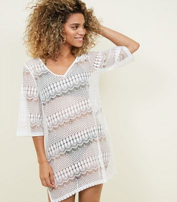 White Crochet Beach Kaftan