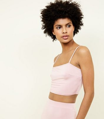 Pale Pink Square Neck Cropped Party Cami