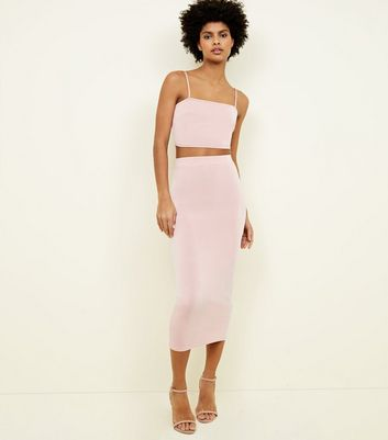 Pale Pink Bodycon Midi Skirt