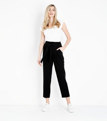 Black High Waist Cropped Tapered Trousers