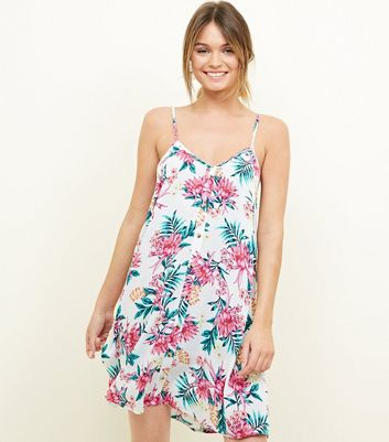 White Tropical Floral Swing Beach Dress