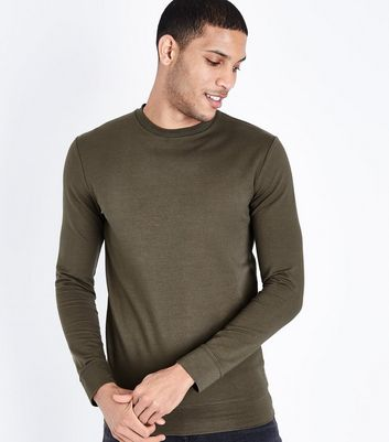 Khaki Muscle Fit Crew Neck Sweatshirt