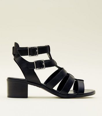 Black Leather Low Block Heel Gladiator Sandals