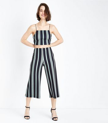 Black Stripe Scuba Cropped Wide Leg Trousers