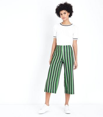 Green Stripe Cropped Wide Leg Trousers