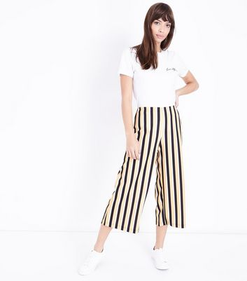 Yellow Stripe Cropped Wide Leg Trousers
