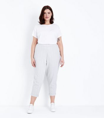 Curves Light Grey Stripe High Waist Trousers