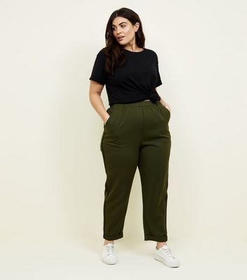 Curves Khaki Side Stripe Tapered Trousers