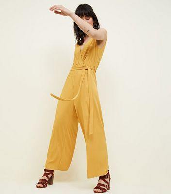 Tall Mustard Ribbed Sleeveless Culotte Jumpsuit