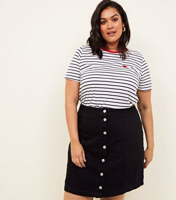 Curves Black Button Front Denim Skirt