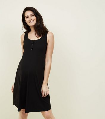 Maternity Black Ribbed Jersey Skater Dress by New Look