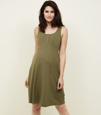 Maternity Khaki Ribbed Jersey Skater Dress
