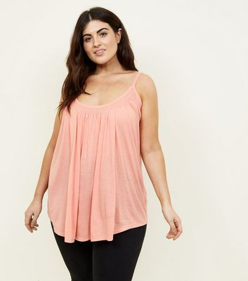 Curves Coral Shirred Neck Cami