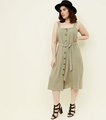 Curves Khaki Button Front Belted Midi Dress