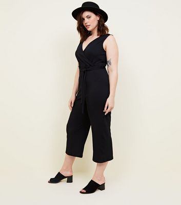 Curves Black Ribbed Jersey Wrap Jumpsuit