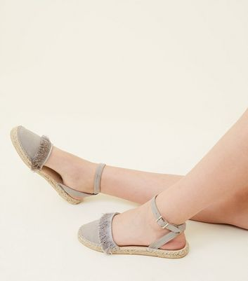 Teens Grey Fringed Two Part Espadrilles by New Look