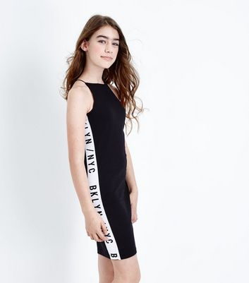 Teens Black NYC Tape Side Bodycon Dress