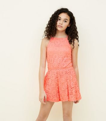Teens Coral Lace Playsuit