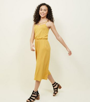 Teens Mustard Ribbed Lattice Front Jumpsuit