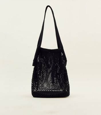 Black Oversized Net Tote Bag
