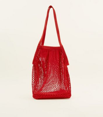 Red Oversized Net Tote Bag