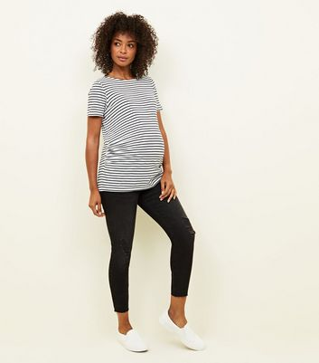 Maternity Black Rinse Wash Ripped Under Bump Skinny Jeans