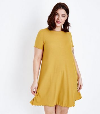 Curves Mustard Jersey Swing Dress