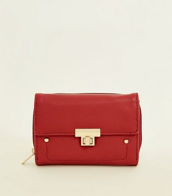 Red Leather-Look Twist Lock Small Purse