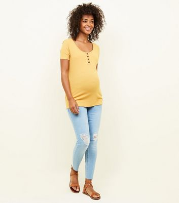 Maternity Light Blue Ripped Over Bump Skinny Jeans