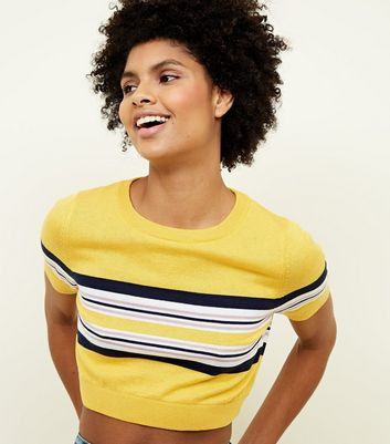 Yellow Stripe Cropped T-Shirt