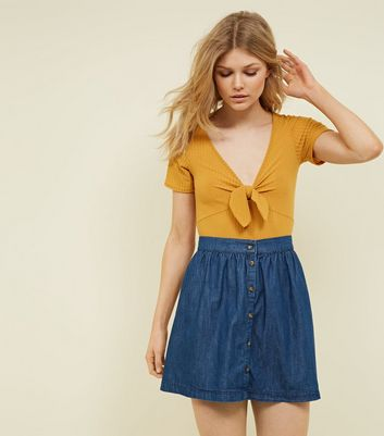 Petite Blue Button Front Denim Skirt