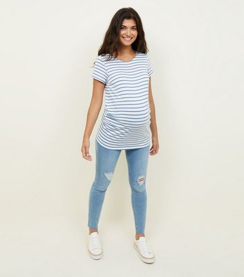 Maternity Bright Blue Under Bump Ripped Skinny Jeans